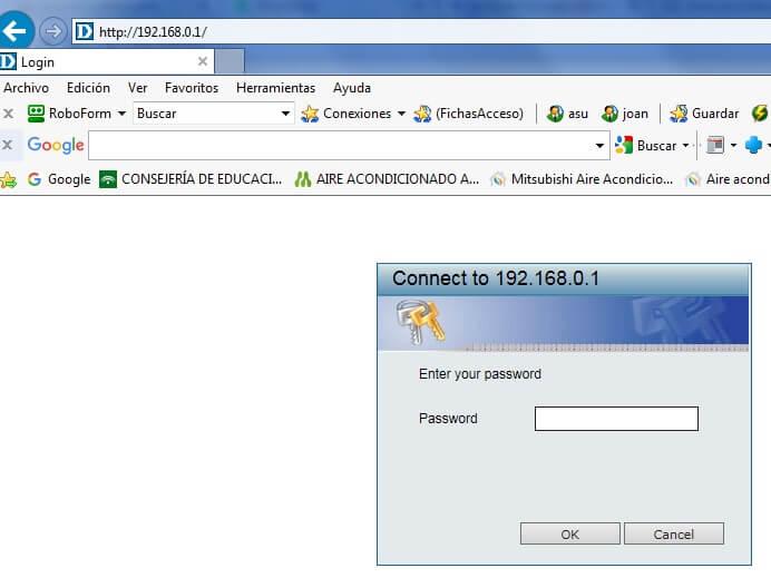 entrada en router